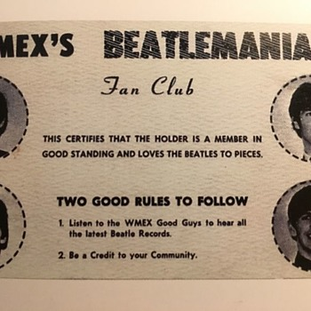 WMEX Beatles Fan Club Card-1964 - Music Memorabilia