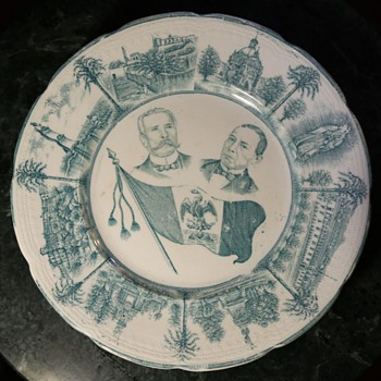 Mexican Commemorative Plate - Porfirio Diaz and ? - Wood & Sons, England - China and Dinnerware