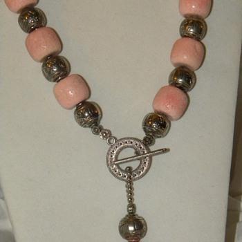 Identify? Huge Pink Stone Necklace - Modern