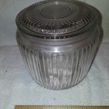 old round glass refrigerator dish (?) - Glassware
