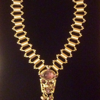 Very Intricate brass tone and purple necklace - Costume Jewelry