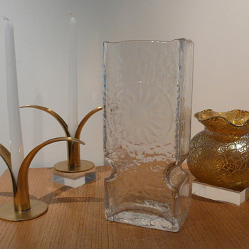 TEXTURED CLEAR VASE ENGRAVED MYSTERY? - Art Glass