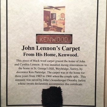 "John Lennon's carpet from ""Kenwood"" - Music Memorabilia"