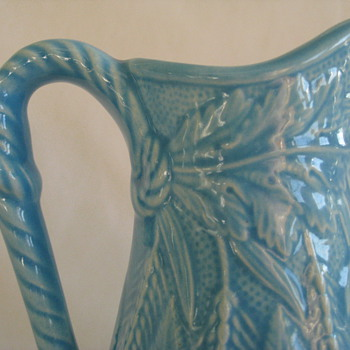 Beautiful turquoise pitcher/vase with wheat, fern and rope detail - Pottery