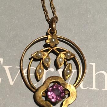 Floral Pearl Amethyst Pendant.  - Fine Jewelry