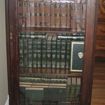 Vintage Walnut Book Case with Classic Book Collections - Furniture