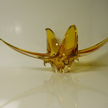 "Post 3 of 5-Enigmatic Huge Amber Centre piece Art Glass,""Chalet Canada""Circa 1960-70 - Art Glass"
