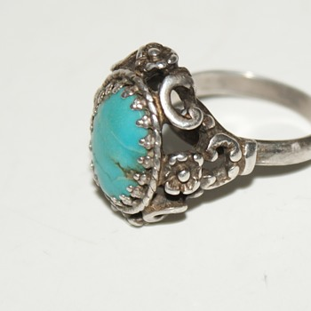 Vintage Sterling Ring with Turquoise  - Fine Jewelry