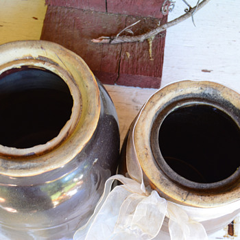 Antique Canning Jars - Wax lid Canning Crocks - 1800's Antique Pottery