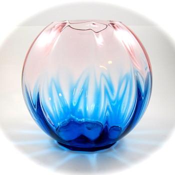 Kralik Ball Vase, ca. 1920s - another take on Pink & Blue - Art Glass