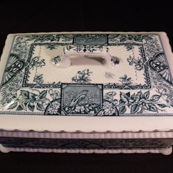 Creamic Art Company Crown Pottery Ruskin Blue Green Transferware