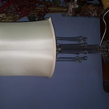 Antique crystal teardrop table lamp