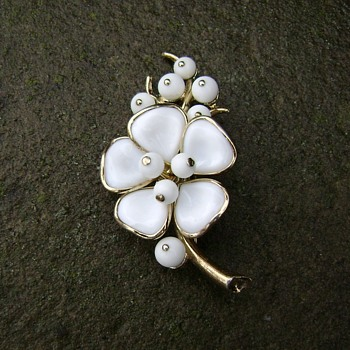 Vintage Trifari Milk Glass - Camellia  - Costume Jewelry
