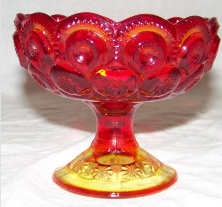 Vintage Glass L E Smith Moons Stars Amberina Red Footed Pedestal