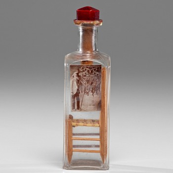Whimsy Bottle Folk Art; Chair and Early Photograph - c1890 - Folk Art