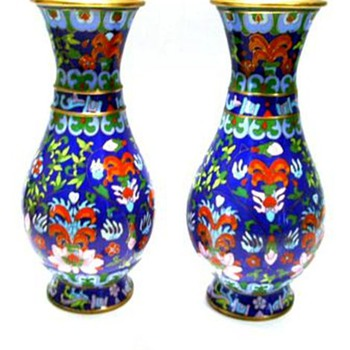 Cloisonne // Enameled Brass Vases - Asian