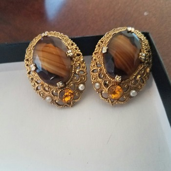 Vintage, dressy Unsigned Gold Tone Brown Marbled? Earrings with seed pearls - Costume Jewelry