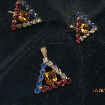 vintage charm and ear bobbs - Costume Jewelry