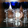 6 Wine Glasses, Cambridge #3011 1930's Statuesque Nude-Royal Blue Cobalt