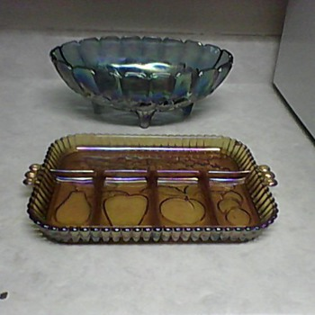 CARNIVAL GLASS TRAY AND BOWL