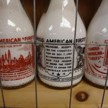 """Famous American Firsts"" Milk Bottles................  - Bottles"