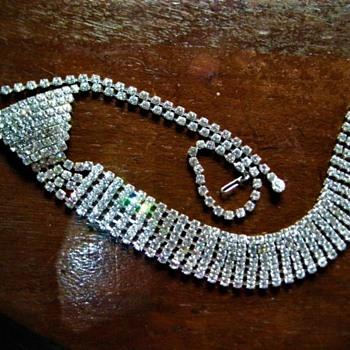 Rhinestone Necktie - Costume Jewelry