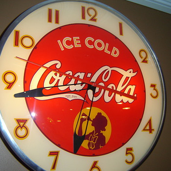 "1950's ""Not Pam"" Silhoette Girl Clock, made by person's unknown! - Coca-Cola"