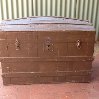 Old metal & timber trunk - Furniture