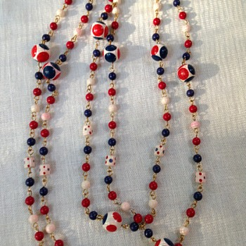 Red, white and blue beaded necklace - Costume Jewelry