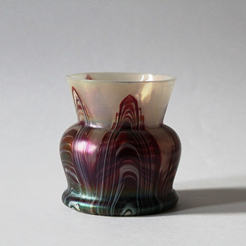 Art Nouveau Opal Burgundy Pulled Vase - Art Glass