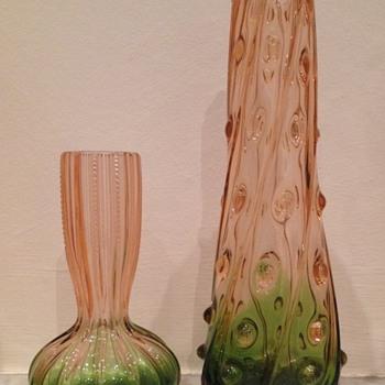 Rubina verde pair - interesting shapes - Art Glass
