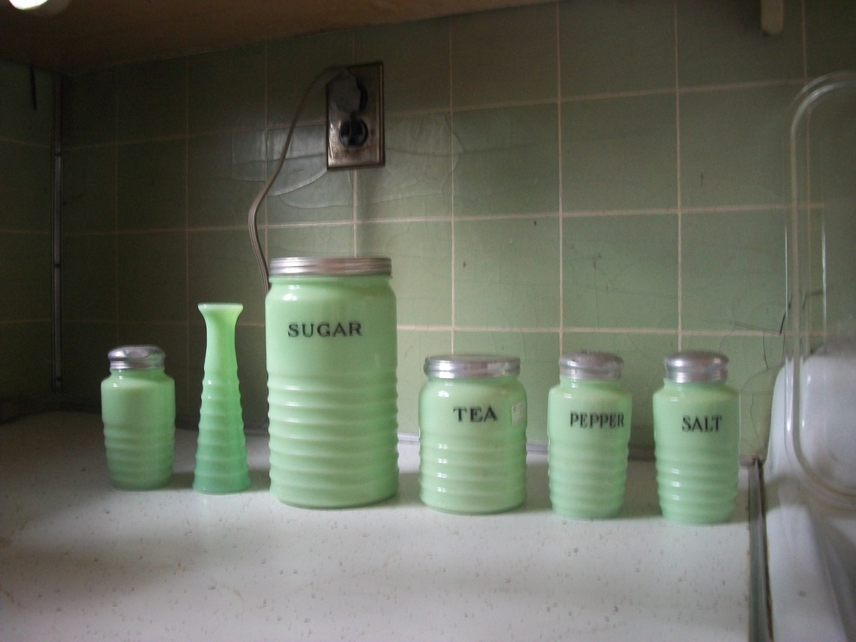 Found at my brother\'s estate. green kitchen canisters ...