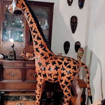 Vintage Life-Size ~ Leather ~ Hand-Crafted, Hand-Painted Giraffe ~ Made in India - Stands 6 foot 8 inchs Tall - Animals