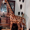 Vintage Life-Size ~ Leather ~ Hand-Crafted, Hand-Painted Giraffe ~ Made in India - Stands 6 foot 8 inchs Tall