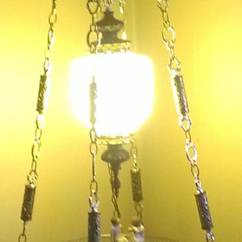 Brass hanging lamp with glass table.  Beautiful opal color on globe.   - Lamps