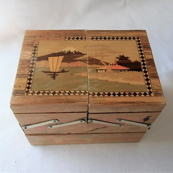 Fun Miniature Japanese Marquetry Wood Sewing Hinged Box - Asian