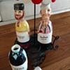 Ceramic Salad Dressing Character Bottles & Metal Cart w/ Umbrella