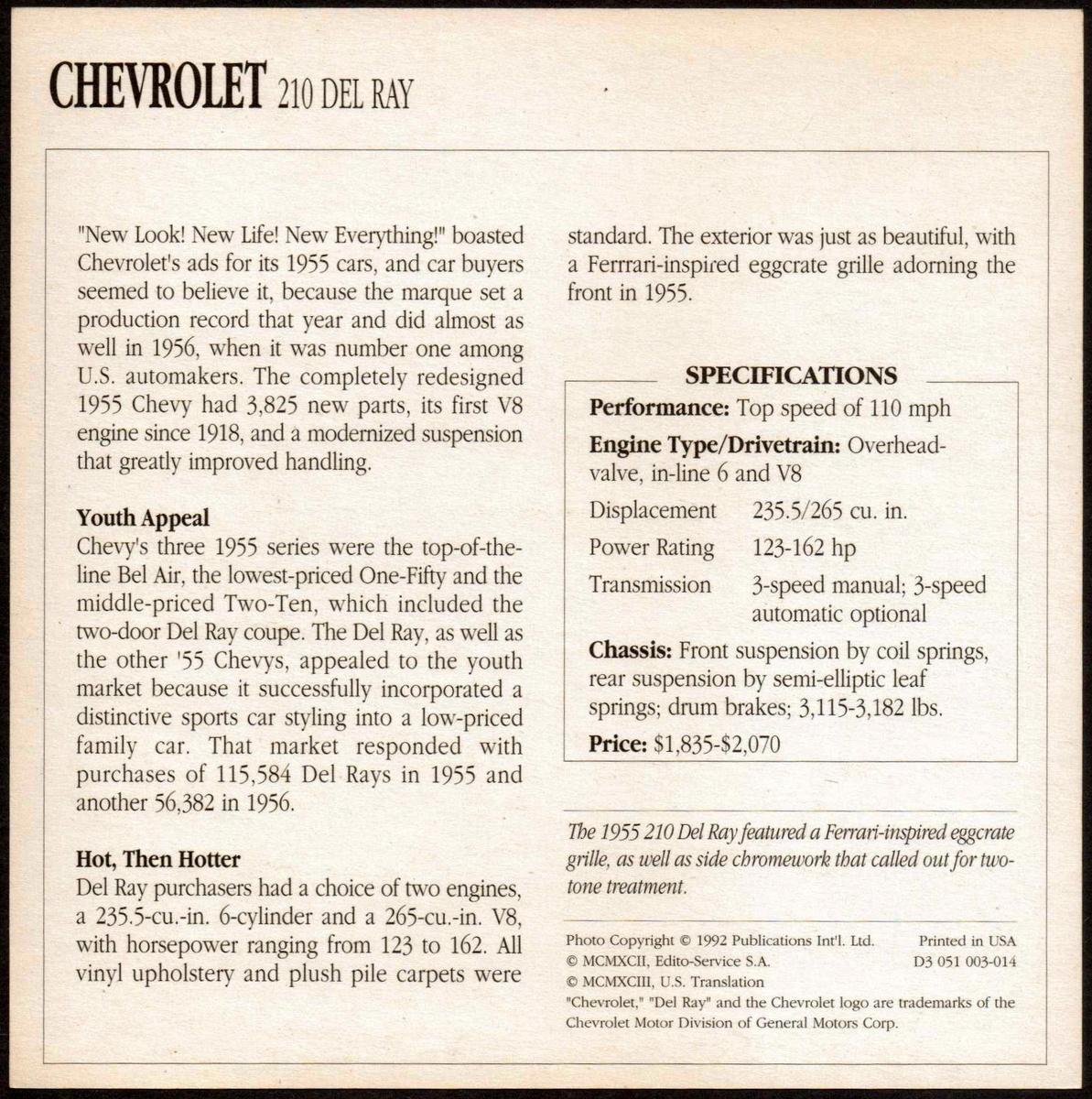 Vintage Car Card - Chevrolet 210 Del Ray | Collectors Weekly