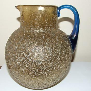 Loetz Gold Overshot Pitcher / Jug with Blue Handle - Art Glass