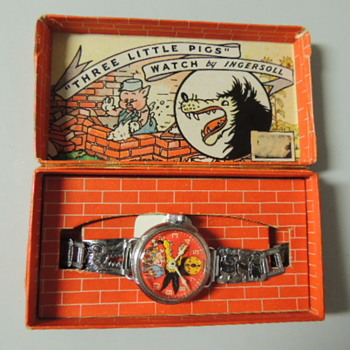 1930s 3 little pigs big bad wolf watches - Wristwatches