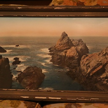 Large Hand-colored Photo of Coastal Rocks in a Pie-crust Frame - Photographs