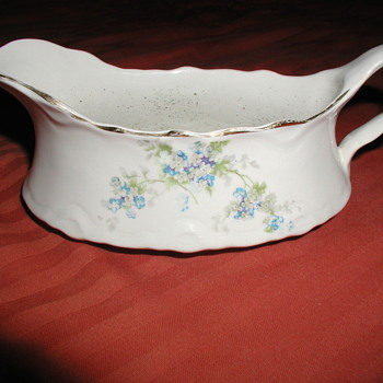 """Gorgeous Antique White China Gravy Boat with Blue Flowers & Gold Accents - Stamp Reads """"Potter's Co-Operative Co. Semi Vitreous - China and Dinnerware"""