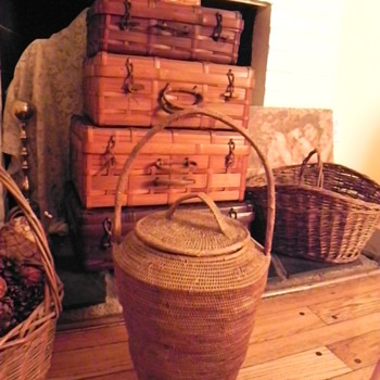Antique tall lidded basket 4 large woven suitcases - Folk Art