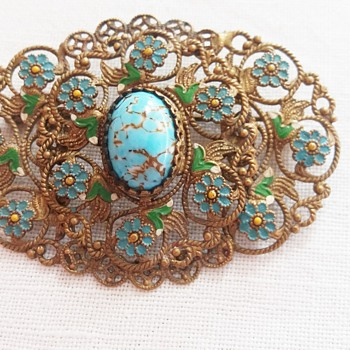 Czech glass and enamel (?) brooch - Costume Jewelry