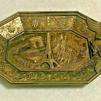 S.A.P. Polyne Paris (Made in France) Elongated Octagonal Metal Souvenir Trinket Dish (HC5) - Advertising