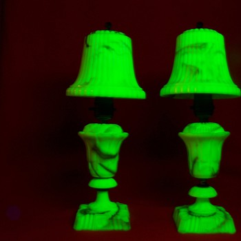 Pair of Uranium Glass Akro Agate Lamps with Akro Shades