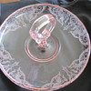 Pink Glass Dragon Etched Candy Bowl with Heart Handle
