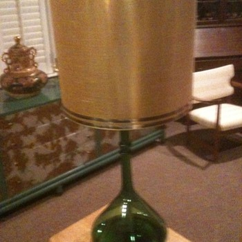 Mid Century Modern Green Flask Lamp - Parzinger? - Lamps