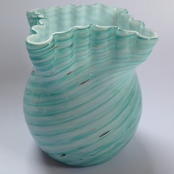 Victorian Welz blue swirled stripe cased glass vase - Art Glass