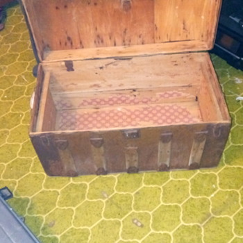 Antique Dome wood tin original steamer trunk Moon and stars - Furniture